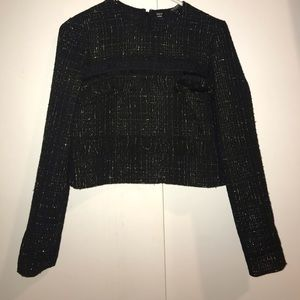 GUESS Black and Gold Tweed Long Sleeve stop